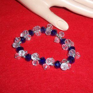 Blue & Clear Crystals w/Silver Tone Metal Bracelet